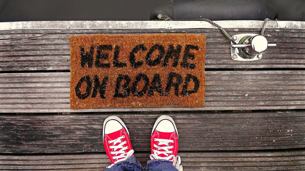 welcome on board in the dock